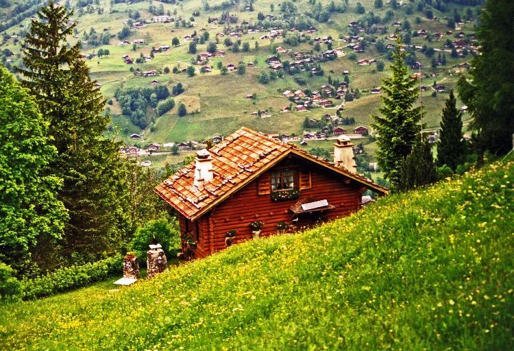 Switzerland, houses in the Swiss Alps