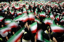 Iran, crowd with flags