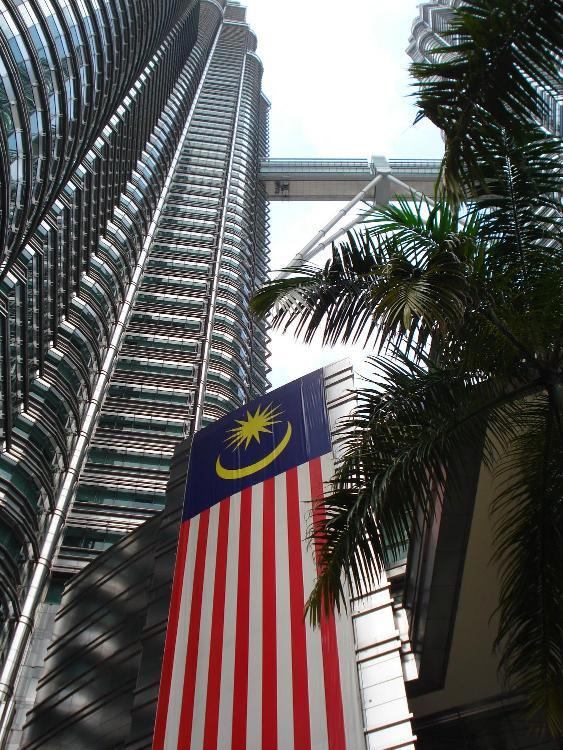 Malaysian flag with the twin towers in Kuala Lumpur
