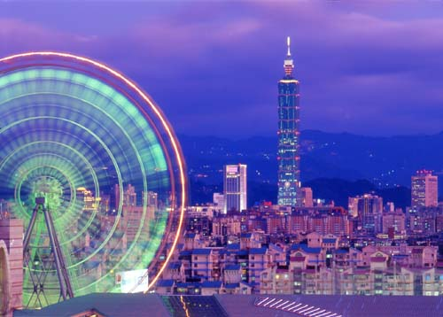 Taiwan, Taipei 101 Tower and Miramar Ferris Wheel