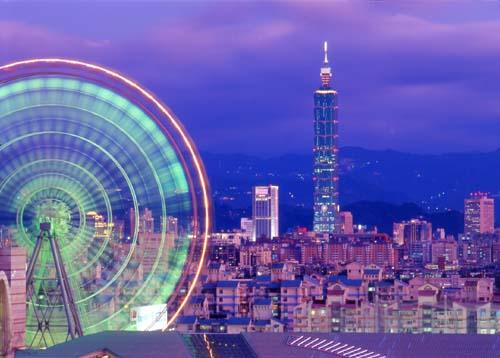 Taiwan, Taipei 101 Tower and Miramar Ferris Wheel