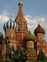 Russia, Moscow, Red Square, St Basil's Cathedral domes